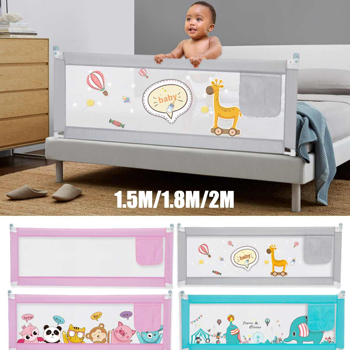 1.5M/1.8M/2M Adjustable Baby Playpen Bed Safety Rails For Babies Children Fences Fence Baby Safety Gate Crib Barrier For Infants