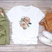 Luslos flor engrenagem feminina de alta qualidade impressão camiseta flor do vintage manga curta casual camisetas brancas roupas femininas