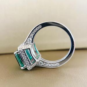 Image 4 - PANSYSEN Vintage Emerald diamond Gemstone Women Rings Top Brand New Wedding Anniversary 925 Sterling Silver Ring Wholesale Gifts