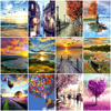 HUACAN Painting By Numbers Scenery Handpainted Picture By Number Landscape Drawing Canvas Home Decoration