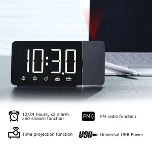 Image 2 - FanJu LED Digital Alarm Clock Watch Table Electronic Desktop Clocks USB Wake up FM Radio Time Projector Snooze Function 2 Alarm