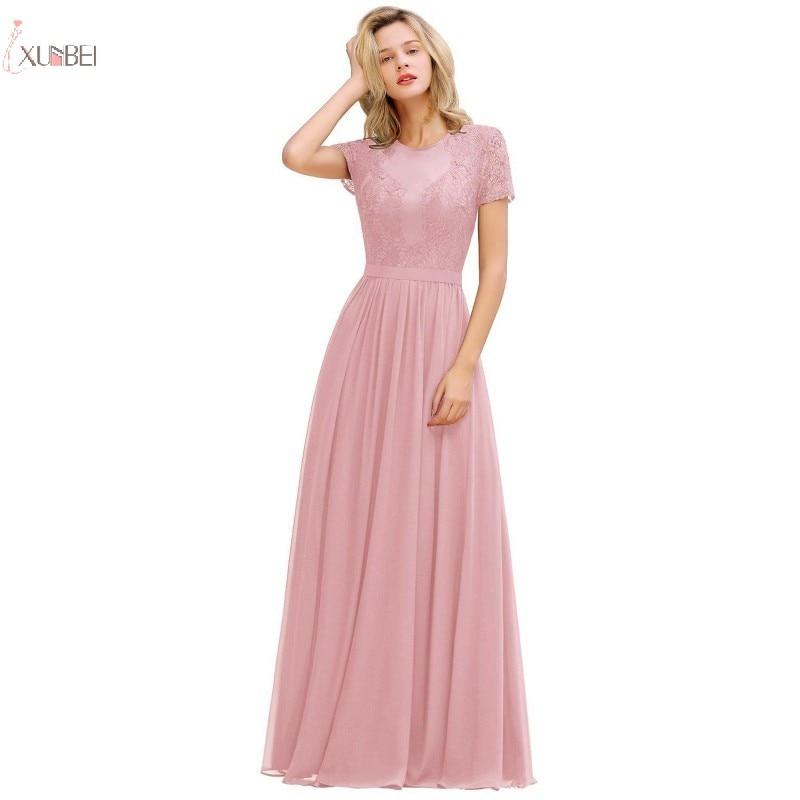 Pink Chiffon Long Bridesmaid Dresses 2019 Elegant A Line Wedding Party Guest Gown Sexy Lace Applique Robe De Soiree