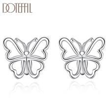 Doteffil 925 Стерлинговое серебро серебряные серьги в виде бабочек