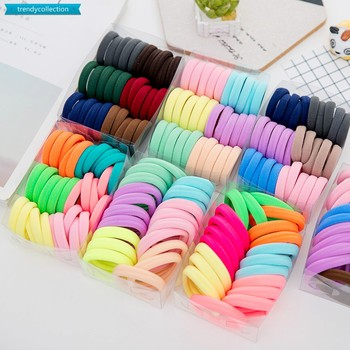 100PCS/Set Women Girls 35MM Colorful Nylon Elastic Hair Bands Ponytail Holder Rubber Bands Scrunchie Headband Hair Accessories 100pcs bag colorful nylon hair gum ties girls ponytail holder rubber bands headband elastic hair bands fashion hair accessories