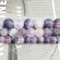 Linxiang Natural jewelry dull polish Purple fluorite loose beads 4/6/8/10 mm DIY Bracelet Necklace Accessories