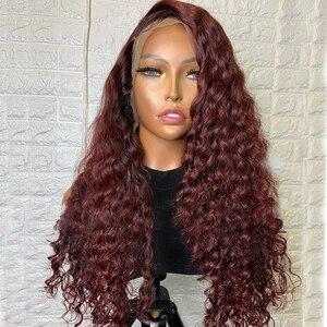 Simbeauty, свободные, темно-винные, темно-синие, шелковые, базовые, полностью кружевные человеческие волосы, парики, прозрачные, 13x6, глубокая боко...