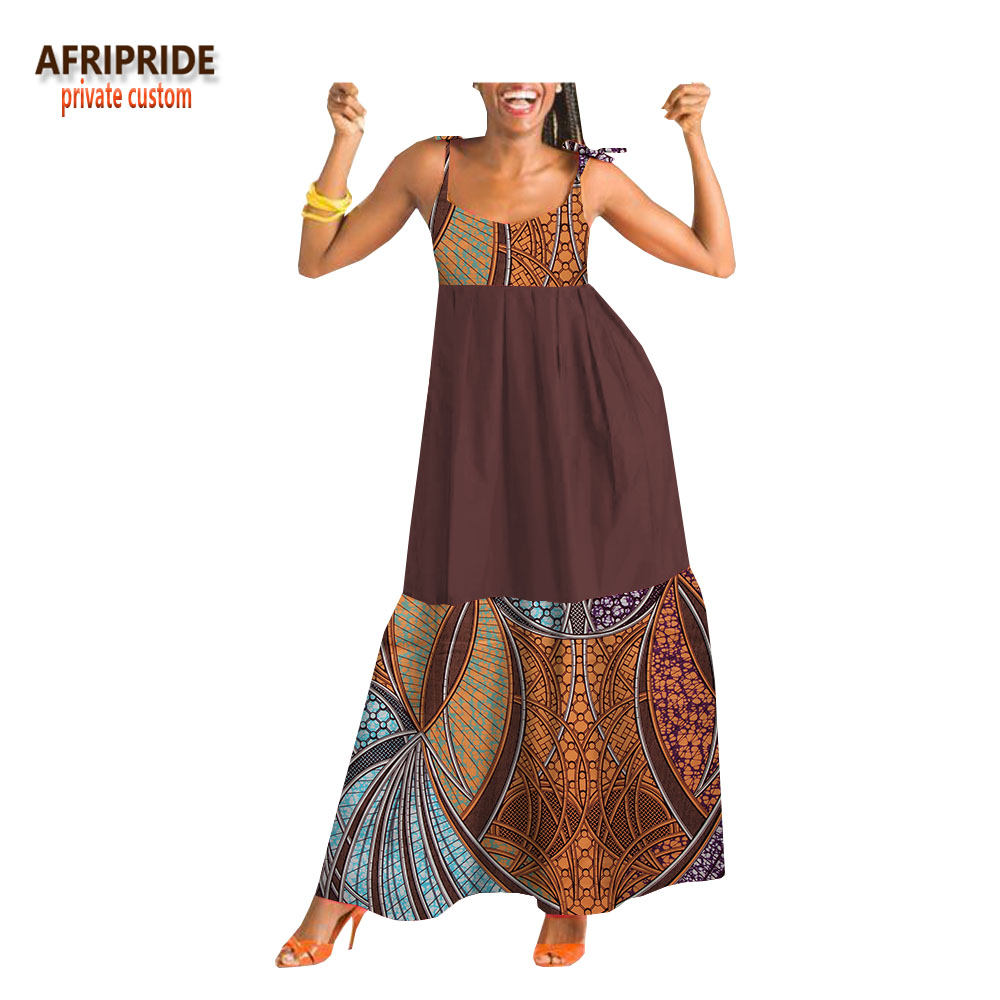 2018 ankara été décontracté femmes robe AFRIPRIDE sur mesure cheville longueur spaghetti lâche batik coton robe pour les femmes A1825062