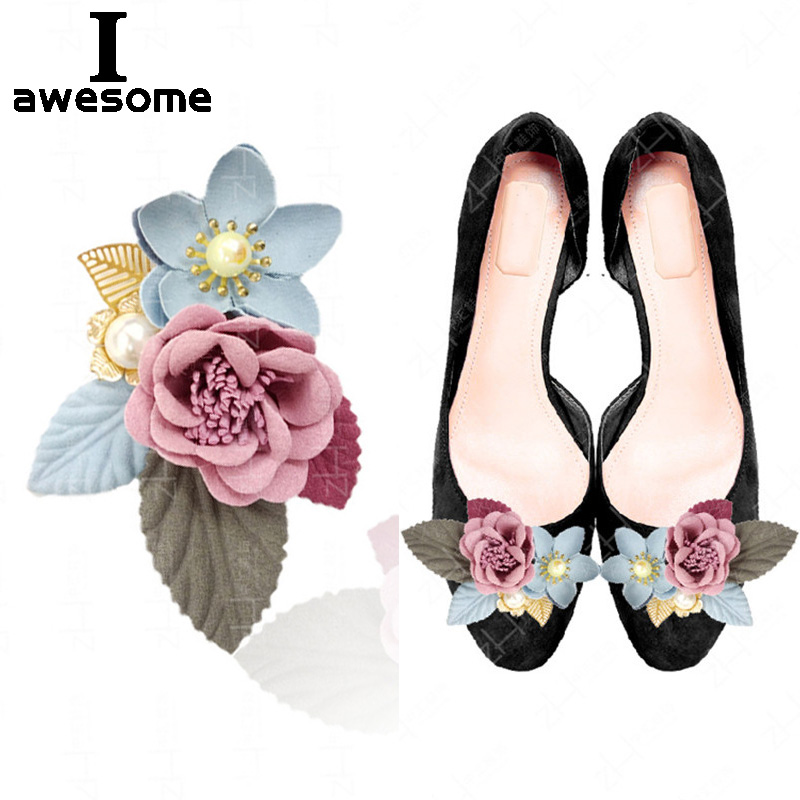 Beautiful Red Pink Pearl Flower Bridal Wedding Party Shoes Accessories For High Heels Shoes Boots Pumps DIY Shoe Decorations