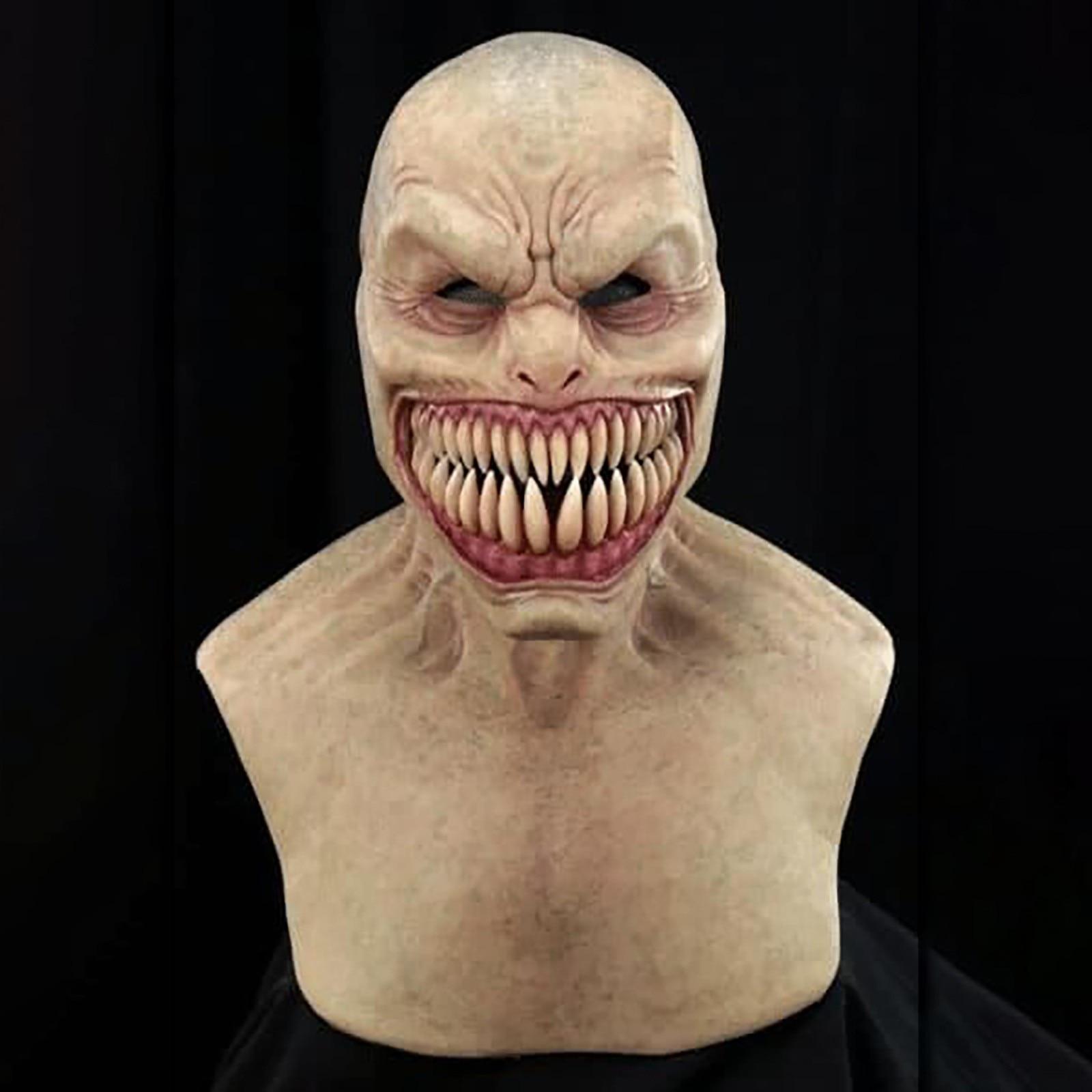 2020 Latex Mask Horror Halloween Creepy Wrinkle Face Mask