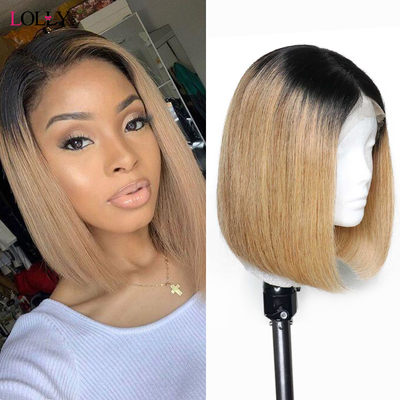 Ombre Short Bob Wig Lace Front Human Hair Wigs T1B/27 Colored Huaman Hair Wigs Highlight Wig Pre Plucked For Balck Women Remy
