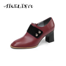 AIKELINYU Genuine Leather Pumps Women High Heels Shoes Square Round Head Office Zipper Ladies Autumn black Woman