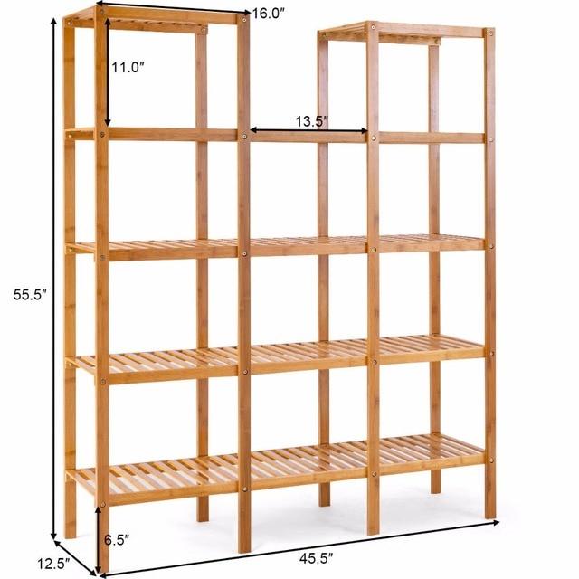 Multifunctional Bamboo Bookshelf Bookcase Flower Plant Stand Display Storage Rack Unit Closet Home Furniture HW57411 5