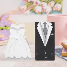 Fashion 50pcs Wedding Favors Bride Groom Dress Candy Boxes Beautiful DIY Fine Workmanship Event Party Decor Supply Present