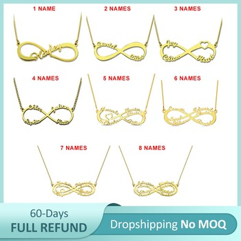 Sweey Wholesale No MOQ Dropshipping Personalized Infinity Name Necklace for Women 1 to 8 Names Best Jewelry Gift no name 1 ярусная малая