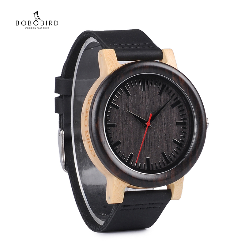 BOBO BIRD Men's Watches Luxury Brand Women Quartz Watches Black Leather Strap Wrist Watches Relogio Masculino C-M13