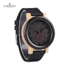 BOBO BIRD relojes de marca de lujo para hombre y mujer, de cuarzo, correa de cuero negro, de pulsera, C M13