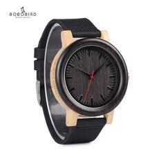 ボボ鳥メンズ腕時計高級ブランドの女性のクォーツ腕時計ブラックレザーストラップ腕時計レロジオ masculino C M13