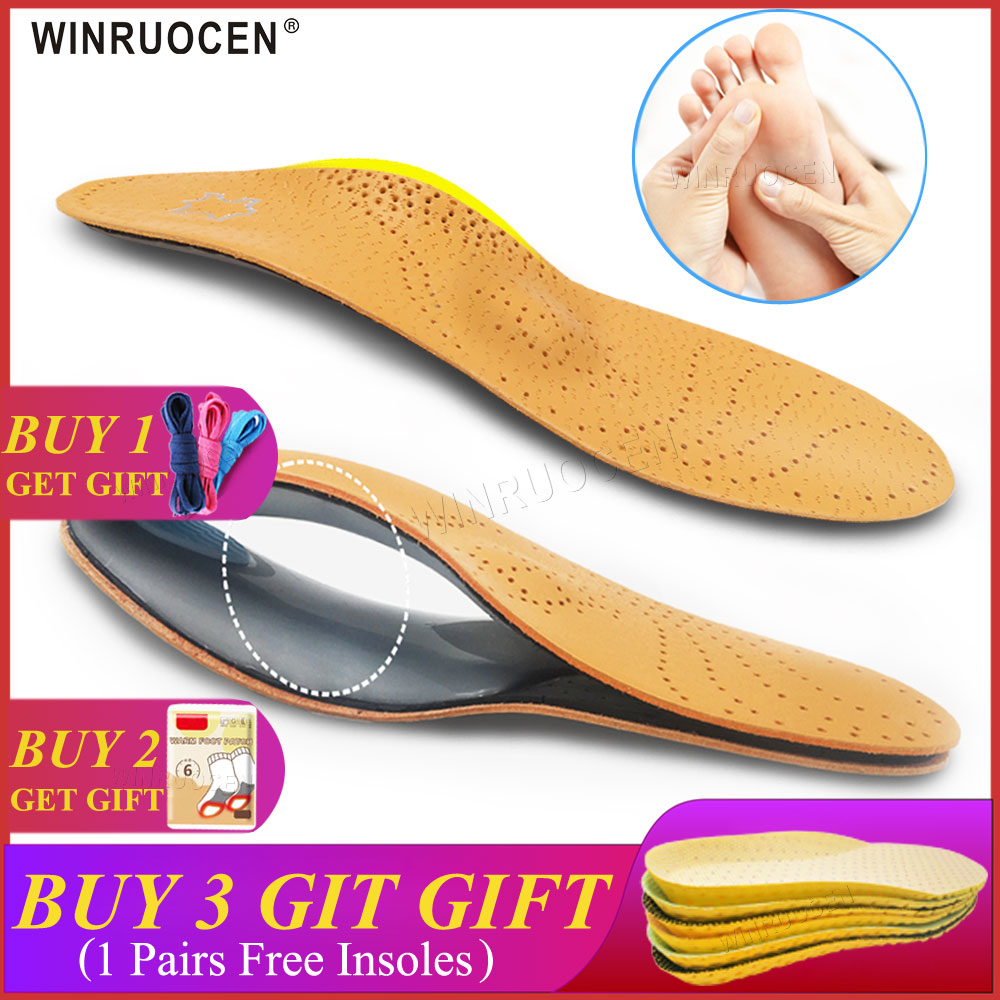 3D Premium Healthy Leather Orthotic Insole For Flatfoot High Arch Support Orthopedic Insole Insoles Men And Women Shoes Insert