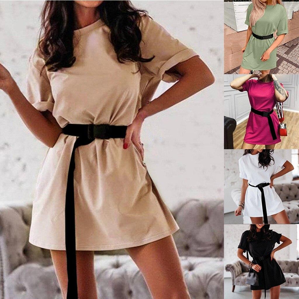 30h Hot Dress Woman Loose Summer Dress with Belt Solid Oversized Dresses Homewear Sports Mini Dress for women|Dresses|   - AliExpress