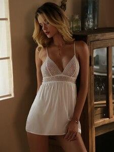 Image 2 - ชุดชั้นในเซ็กซี่ชุดนอนสตรีชุดนอนฤดูร้อนด้านข้างแยกหน้าอกเล็กๆ Suspender สายไหมกับ Panty