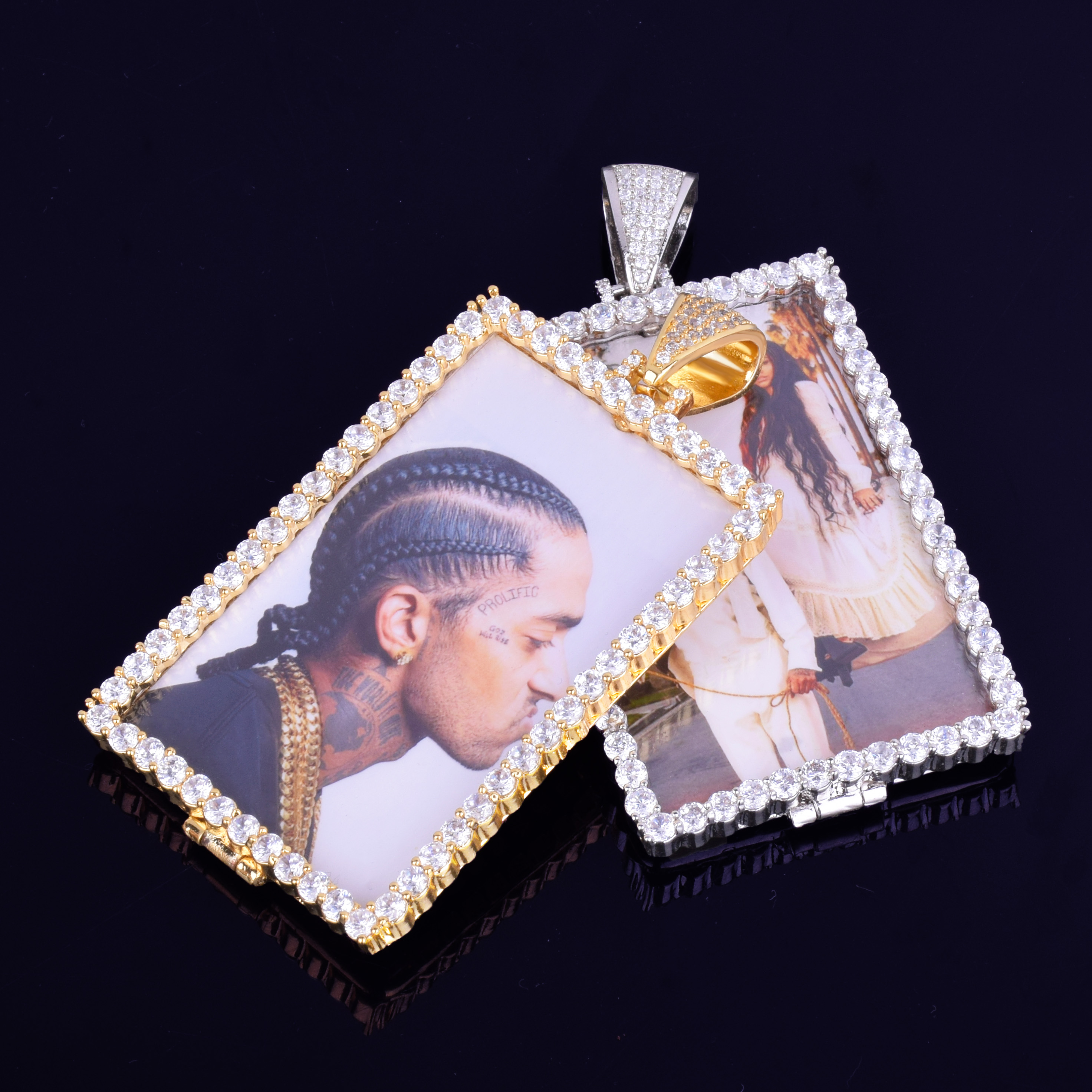 Image 3 - Custom Made Photo Squar Medallions Necklace & Pendant with 4mm Tennis Chain Gold Silver Color Cubic Zircon Men's Hip hop Jewelry-in Pendant Necklaces from Jewelry & Accessories