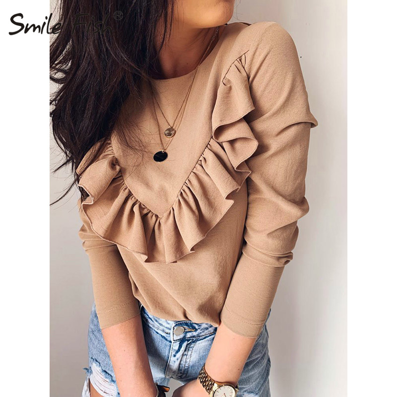 Long Sleeve Elegant Women Blouses 2019 Lady Office Work Ruffles O-Neck Khaki Shirts Tops White Black Autumn Winter Blusas GV948