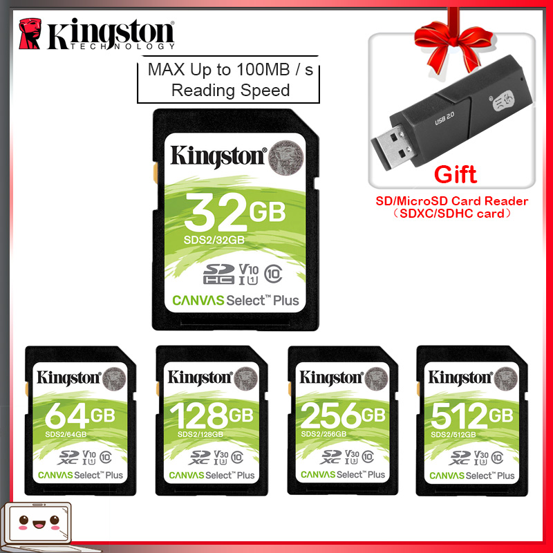 Kingston SD Card 32 GB 64 GB 128 GB Memory Card Cartao De Memória SDHC/SDXC Micro SD Card 256GB For HD 1080p And 4K Video Camera