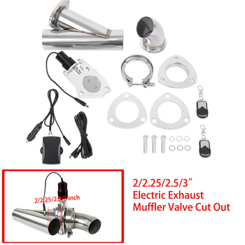 Samger 2/2.25/2.5/3inch Electric Exhaust Muffler Valve Car Cut Out Header Be Cut Pipe Electric Valve Exhaust Tip Muffler Kit espeeder 2 5 exhaust cut out 63mm exhaust control cutout valve with vacuum actuator open close exhaust tip muffler valve