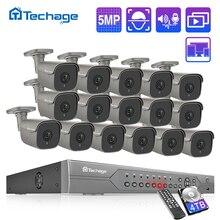 H.265 16CH 5MP 4K HD POE NVR 키트 CCTV 시스템 IR 야외 양방향 오디오 AI IP 카메라 P2P 비디오 보안 감시 세트 2 테라바이트 HDD