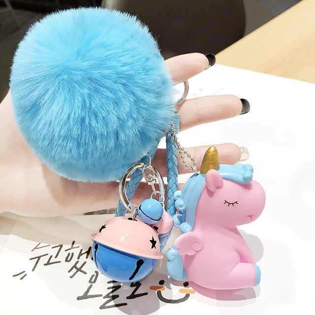 لطيف أفخم Pompom يونيكورن المفاتيح للنساء كرة مستديرة بوم بوم فرو الأرنب الصناعي مفتاح سلسلة حلية حقيبة السيارة جرس حلقة رئيسية هدية