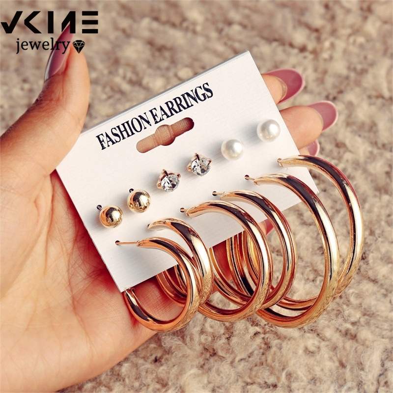 VKME Vintage Big metal Drop Earrings Set For Women Geometric Circle Gold Metal Knot Dangle Earring Femme Fashion Jewelry New
