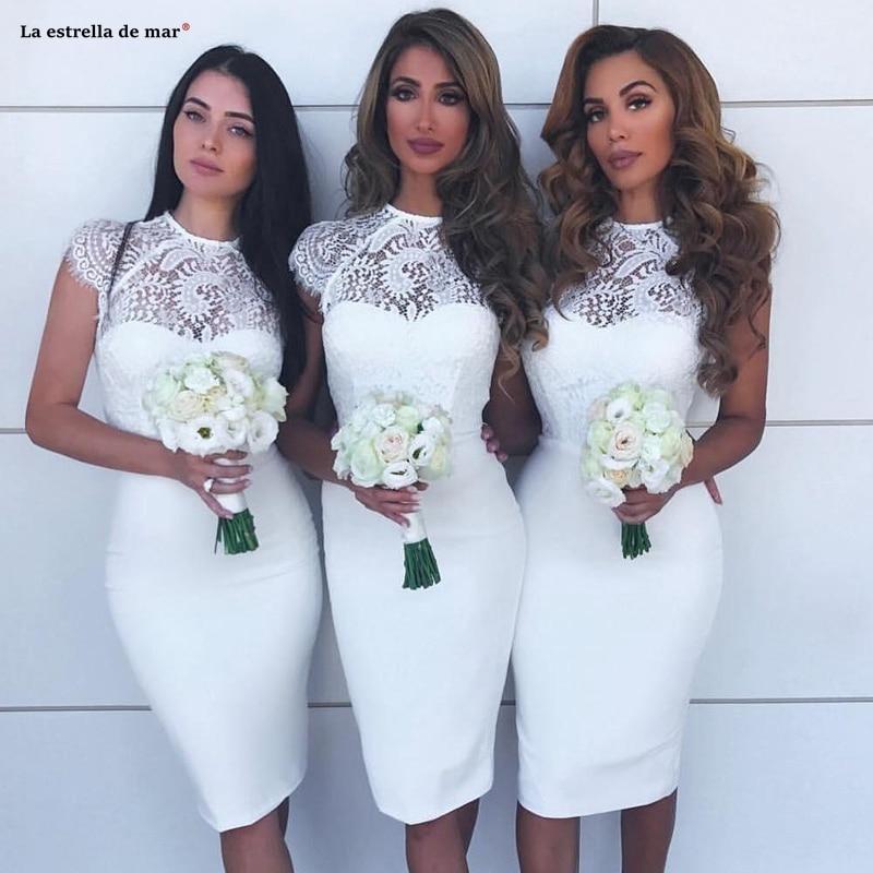 Robe pour mariage invit femme2019 new O Neck lace satin cap sleeve ivory sexy Sheath   bridesmaid     dresses   Tea vestido madrinha