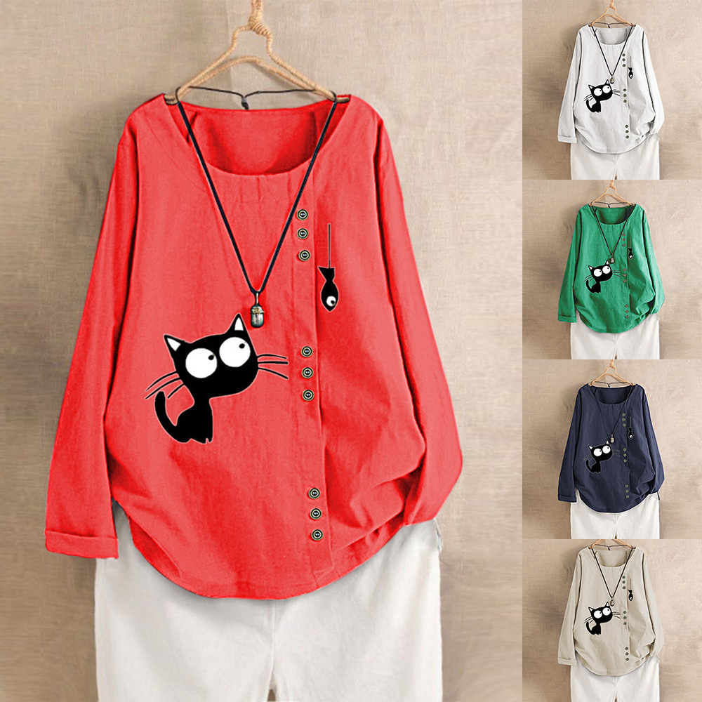 Women Spring Summer Fashion Korea Style Oversized Long Sleeve Cotton Linen Fabric Cat And Fish Printing Cute Tshirt Casual Tees
