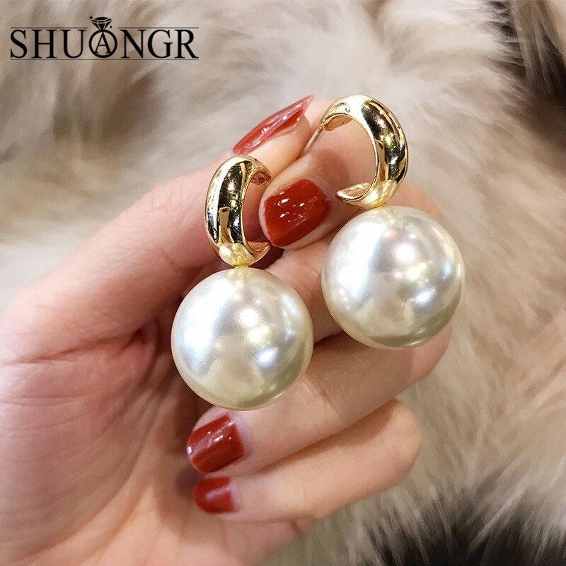 SHUANGR Women Fashion Round Big Pearl Dangle Earrings Personality Metal Geometry Ball Exaggerated Drop Earrings Jewelry