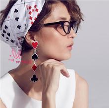 Acrylic Geometric Playing Card Long Earrings Female European Fashion Exaggerated Punk Night Club Jewelry