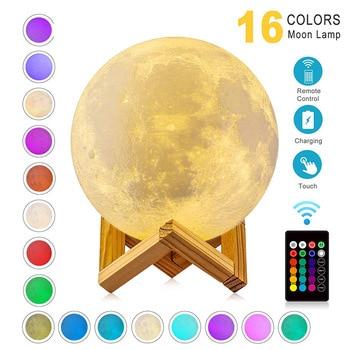 цена LED Night Light 3D Print Moon Lamp Rechargeable Color Change 3D Light Touch Moon Lamp Children's Night Lamp for Home онлайн в 2017 году