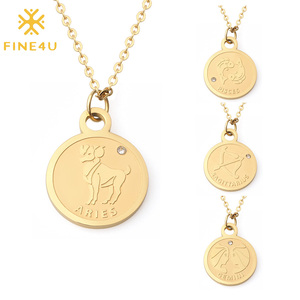 FINE4U 12 Constellation Horoscope Necklace Stainless Steel Zodiac Sign Coin Pendant Necklace Astrology Disc Medallion Jewelry