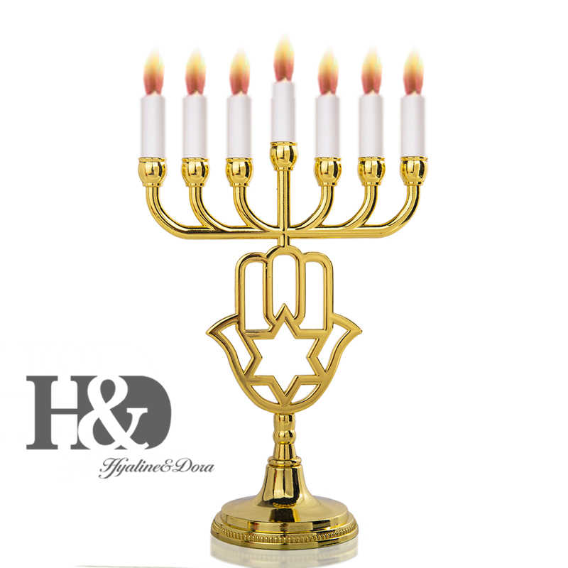 H&D Gold Hamsa Enamel Menorah Candle Holder 7 Branch Israel Brass Copper Sticks for Home Wedding Dining Coffee Table Decorative