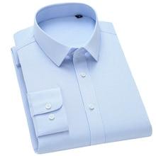 Striped Shirt Bamboo-Fiber-Dress Stretch Business Long-Sleeve Classic Standard-Fit Formal