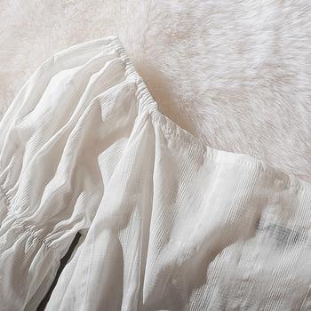 Cthink Spring 2020 New Slash Neck White Short Blouse Women Stylish Flare Sleeve Slim Soft Cotton Busas Good Summer Women's Dress 4