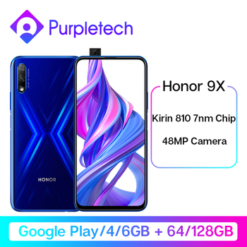 "Original Honor 9X Google Play Kirin 810 7nm Octa core Smartphone 48MP Dual Camera 6.59"" Full Screen Pop-Up Front Camera"