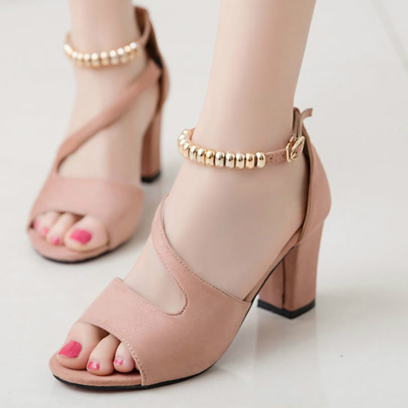 spring summer sexy fish mouth hollow Roman sandals thick with word with beaded high heels female summer Sexy female sandals 2