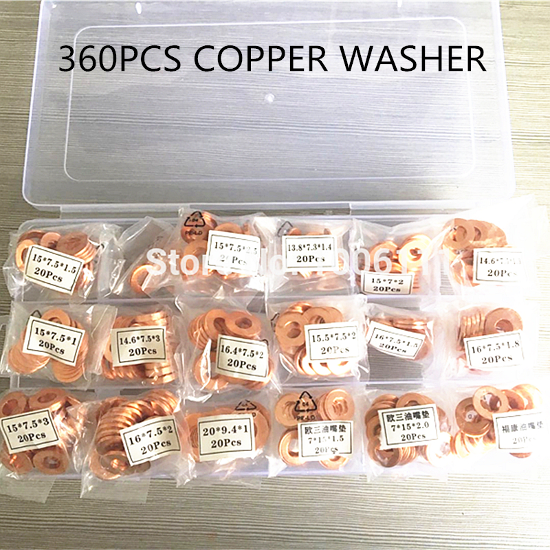 360PCS Diesel Common Rail Injector Nozzle Adjusting Copper Washer Seal Ring Gaskets Pad For All Brands Injectors