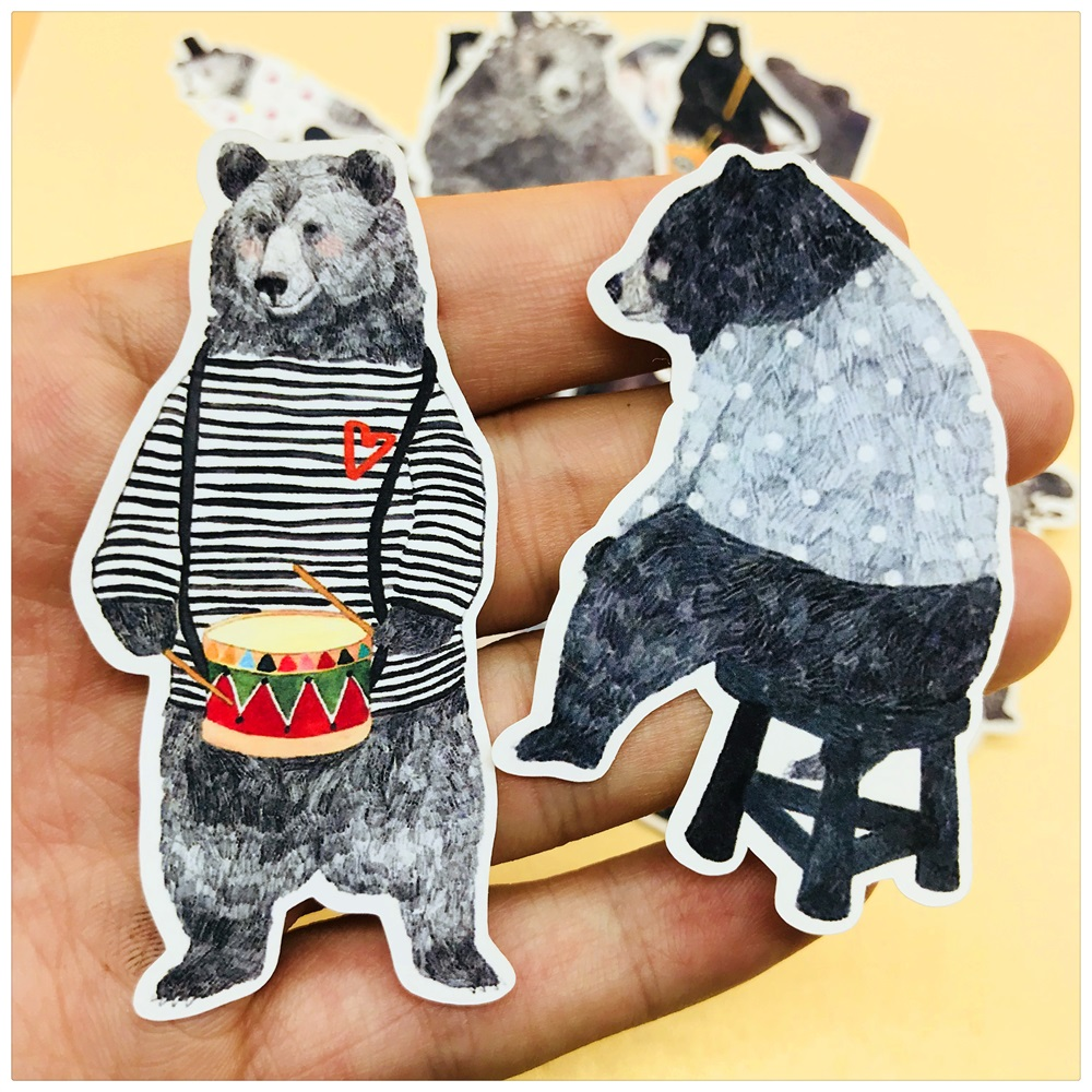 22Pcs/Set Vintage Cute Cartoon Mr Bear Sticker DIY Craft Scrapbooking Album Journal Happy Planner Decorative Stickers