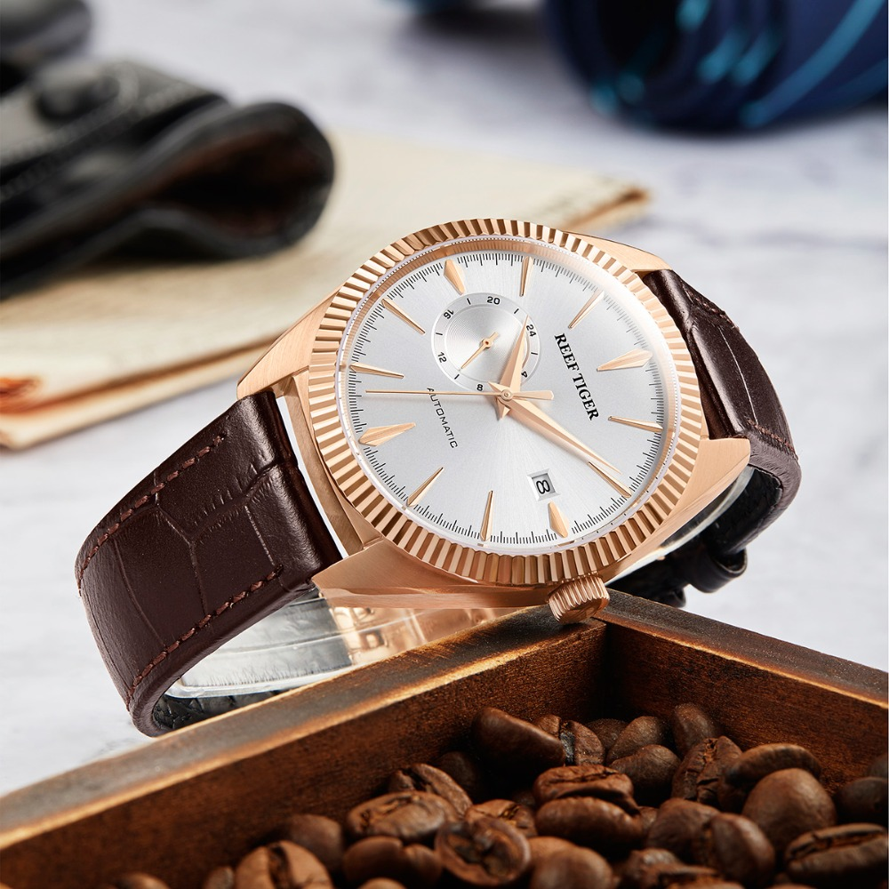 Reef Tiger/RT Top Brand Luxury Mens Watch Reloj Hombre Automatic Mechanical Leather Waterproof Watches Relogio Masculino RGA1616