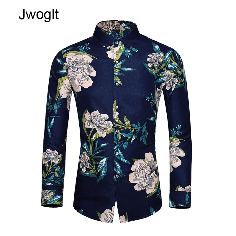45KG-120KG Autumn New Men's Shirt Turn-Down Collar Long Sleeve Button Up Flowers Printed Design Hawaiian Shirts 5XL 6XL 7XL