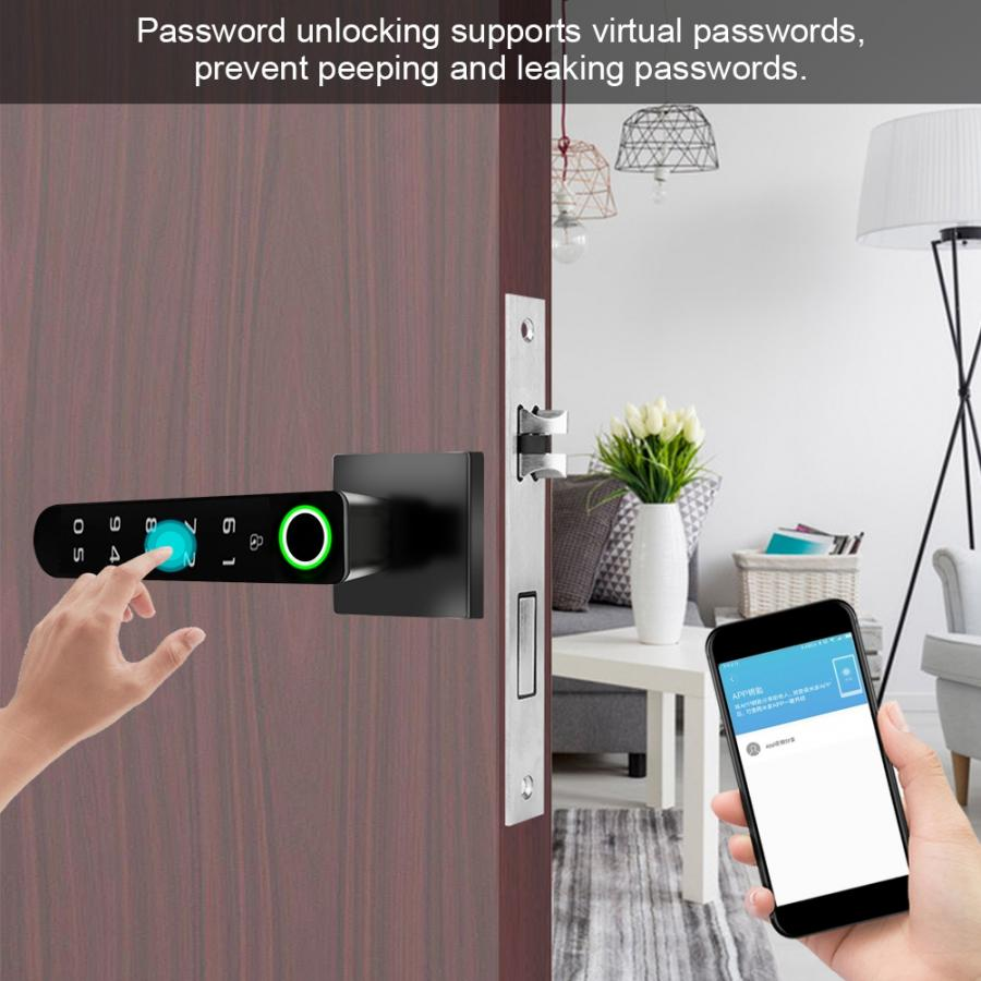 Smart Door Lock,Electronic Fingerprint/&Card/&Password Door Lock Digital Anti-Theft Security Smart Door Lock for Bedroom Apartment Office