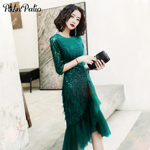 Mermaid-Dresses Cocktail Semi Green Short Sequined Tulle Lace Party Elegant Little