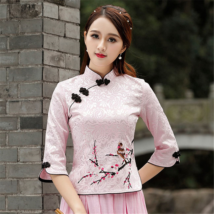 Cheongsam Top Qipao 2020 News Floral Elegant Traditional Chinese Clothing For Women Chinese Shirts Dress Wedding Vestidos Tang