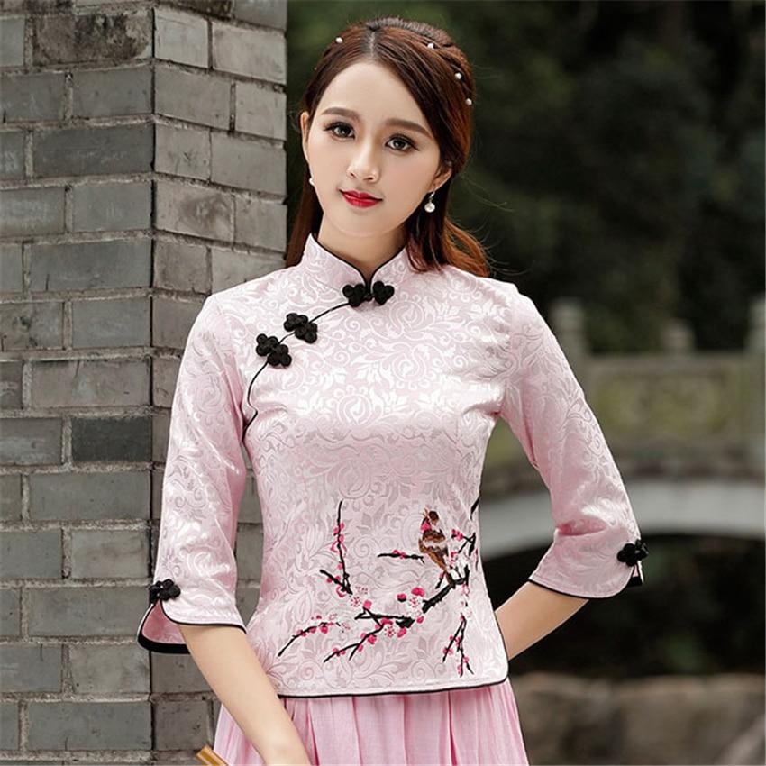 Cheongsam Top Qipao 2020 News Floral Elegant Traditional Chinese Clothing For Women Chinese Shirts Dress Wedding Vestidos Tang